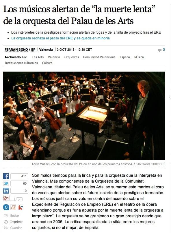 """Los músicos alertan de """"la muerte lenta"""" de la orquesta del Palau de les Arts Captur26"""