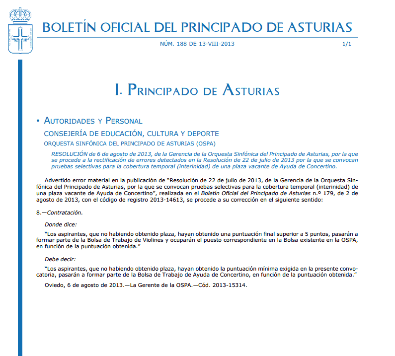 Convocatoria de plaza vacante Ayuda de Concertino  OSPA Correc10