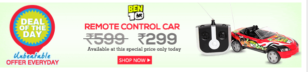 Dealoftheday- Ben 10 Remote Control Car With Lightning Wheels rs 299 mrp rs 599 on snapdeal J5nszn10