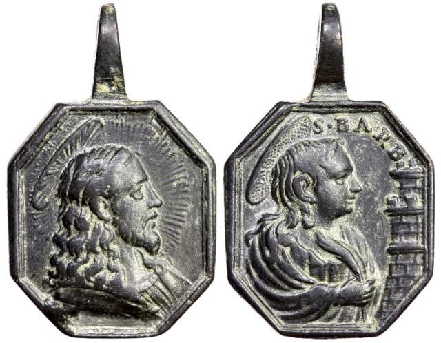 Medalla Jesucristo Salvator Mundi / Santa Bárbara (R.M. SXVIII-P56) B111_d10
