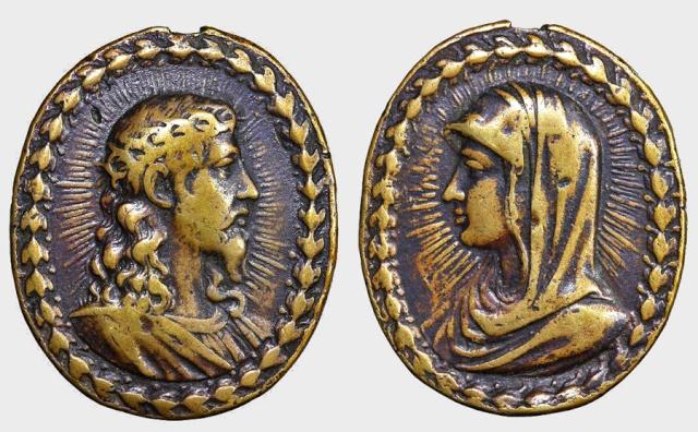 Medalla Jesucristo Salvator mundi / Virgen Mater Salvatoris (R.M. SXVII-O248) F027_d10
