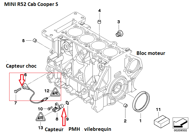 [ Mini Cooper S R52 an 2007 ] Capteur Cliquetis  11_30811