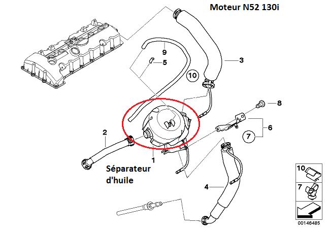 [ BMW E87 130i N52 an 2005 ] remplacement séparateur d huile 11_n5210