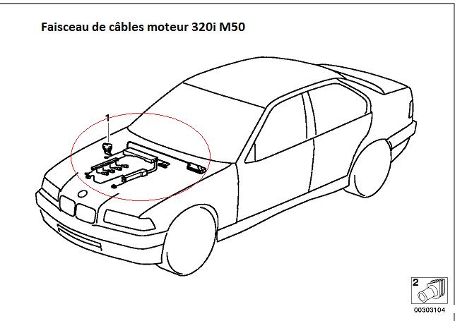 [ BMW E36 320i an 1993 ] faisceau moteur  12_03910