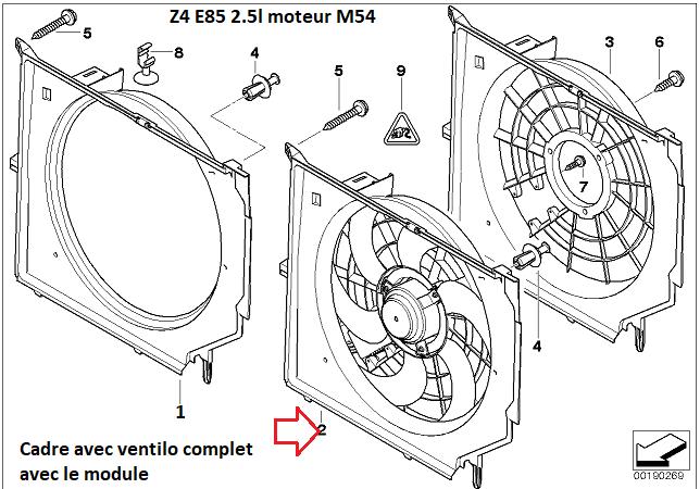[ Bmw Z4 E.85 2.5 i 192cv an 2004 ] problème ventilateur radiateur de refroidissement moteur 17_01311