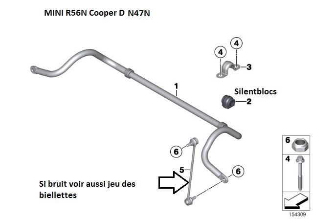 [ MINI R56N N47N Cooper D an 2011 ] Silentbloc de barre stab et support bras suspension avant 31_min13
