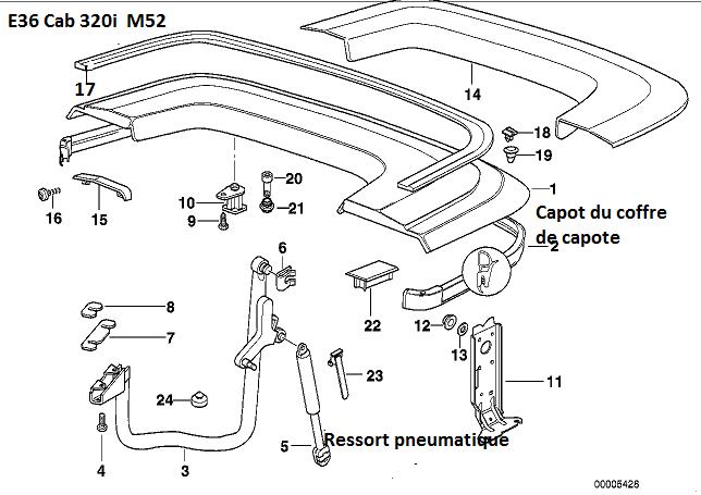 [résolu][ BMW e36 320i cabriolet an 1997 ] Problème de coffre de capote (résolu) 41_cap10