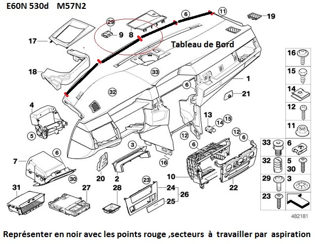 [ BMW e60 530d an 2006 ] objet tombé entre le pare brise et le tableau de bord 51_e6010