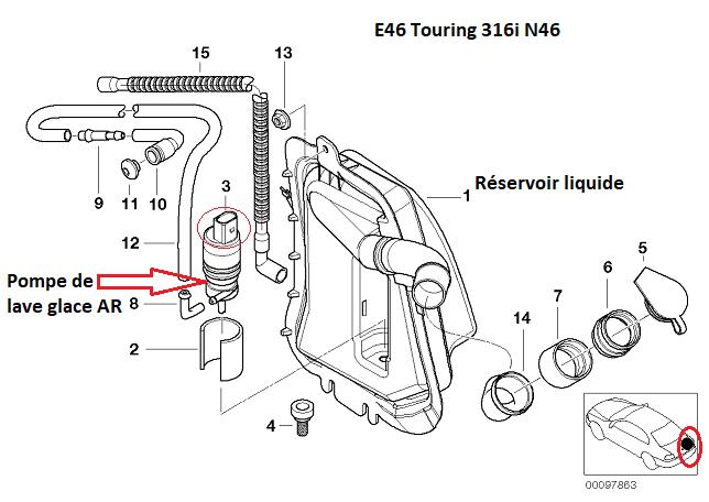 [ BMW E46 Touring 316i N46 an 2005 ] Essuie glace arrière et liquide inopérant  61_12810
