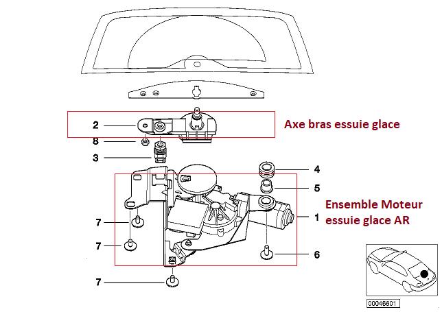 [ BMW E46 Touring 316i N46 an 2005 ] Essuie glace arrière et liquide inopérant  61_12811