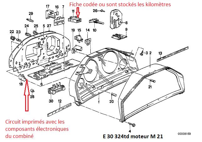 [ BMW E30 324TD M21 an 1988 ] problème compteur kilométrique 62_00610