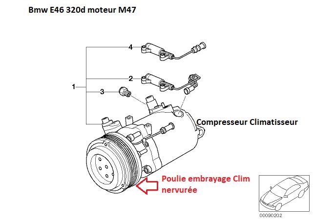[ bmw E46 320d M47 an 2002 ] courroie de climatisation 64_07710