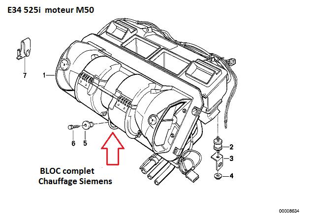 [ bmw E34 525i 24V m50 b25 an 1990 ] ventilateur intérieur ne fonctionne plus + buée pare brise 64_e3410