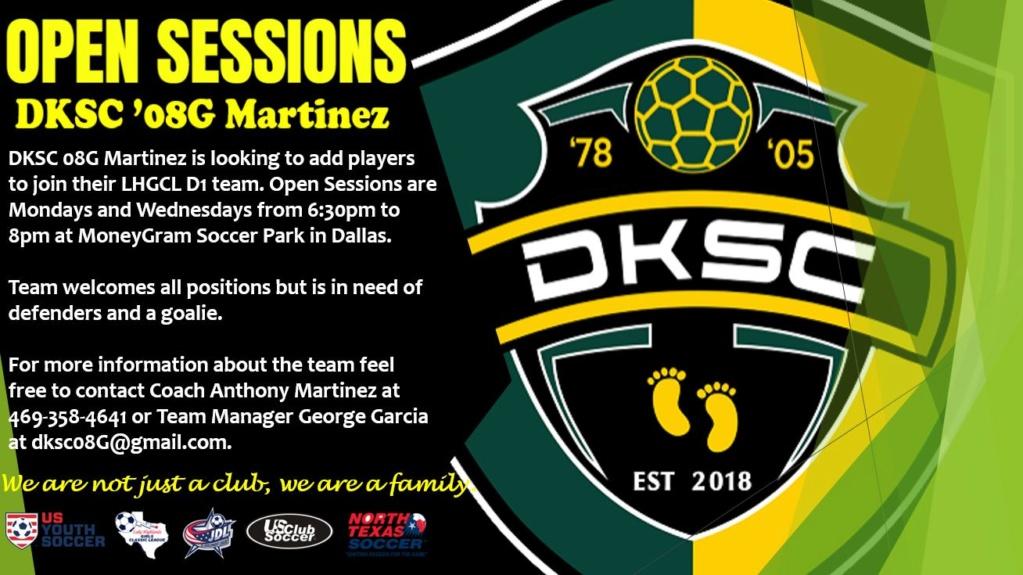 DKSC 08G Martinez (LHD1) Open Tryouts. ALL FIELD POSITIONS WELCOMED Dksc0811