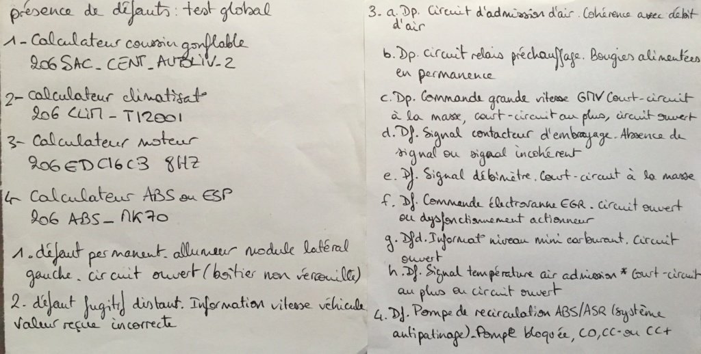 Besoin d'aide pour résoudre les défauts trouvés au diagnostic  99ef0b10