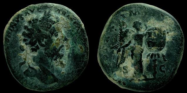 Sestercio de Marco Aurelio. TR POT XX IMP IIII COS III /S C. Victoria Anvres10