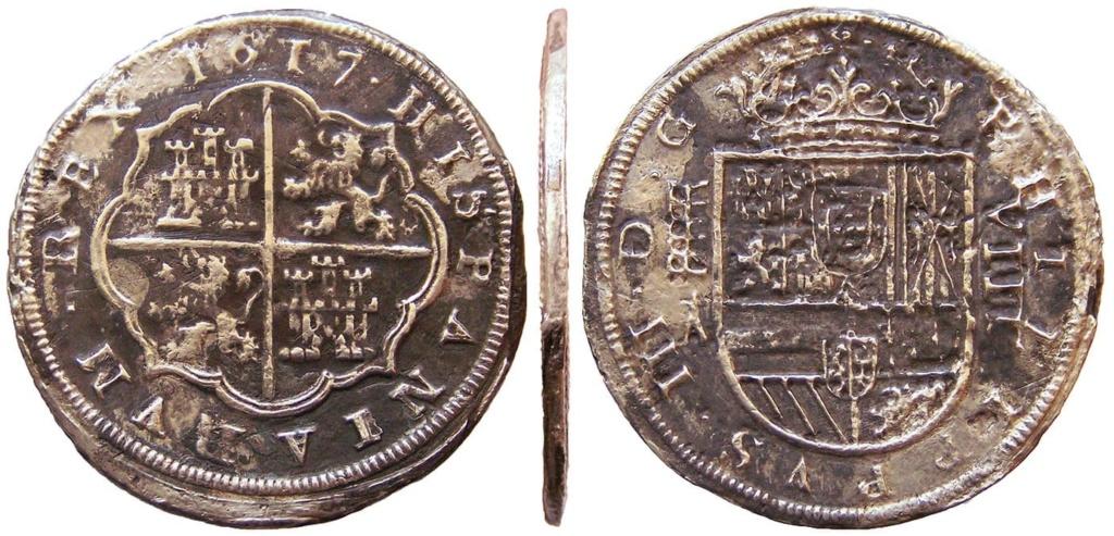 8 Reales Felipe III (1617 Segovia) Oxidaciones marinas B59fbf10