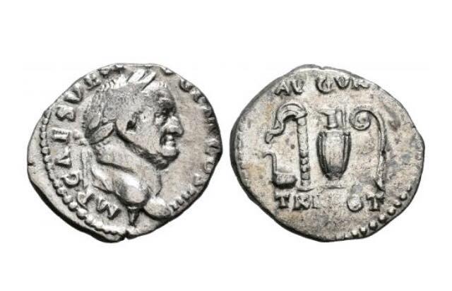 Denario de Vespasiano. AVGVR / TRI POT. Implementos sacerdotales. Roma Eloy_v10