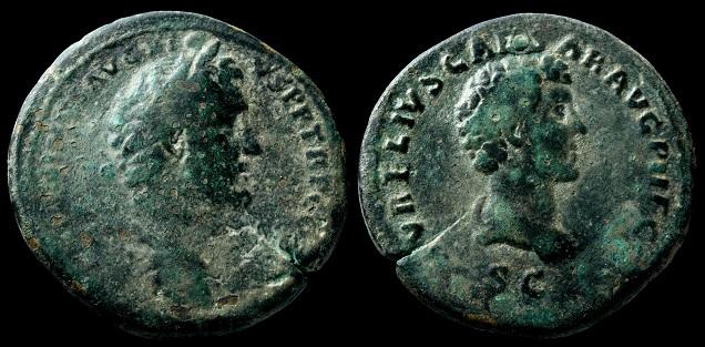 Sestercio de Antonino Pío. AVRELIVS CAESAR AVG PII F COS / S C. Busto de Marco Aurelio. Revers15