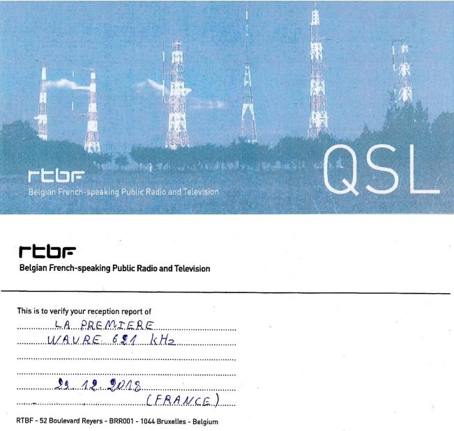"""QSL RTBF """" La Première """" La1ere10"""