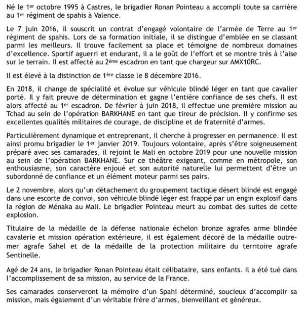 Ronan Pointeau du 1er Spahis, mort au Mali 33853910
