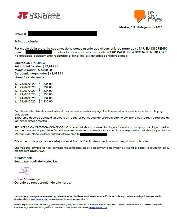 Carta convenio con Recremex Banorte 32165411