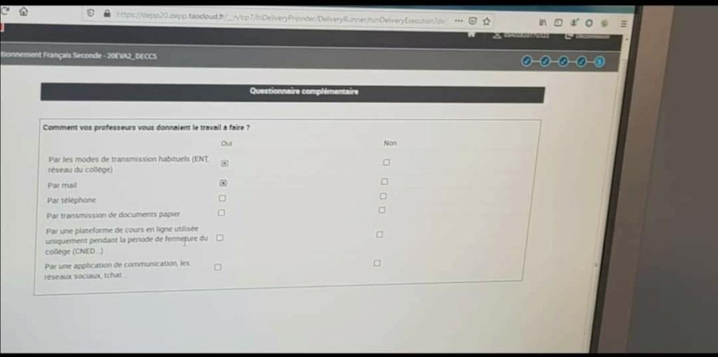 Questions test positionnement français seconde Eim0s210