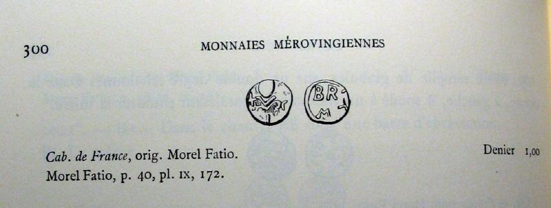 Denier mérovingien se rapprochant des deniers attribués à Brioude  01910