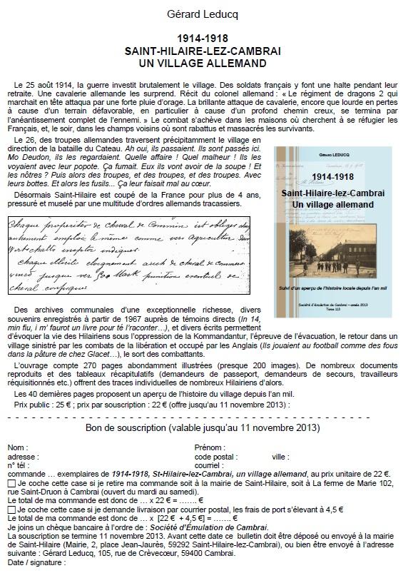 1914-1918 combats, occupation, évacuation, libération à Saint-Hilaire-lez-Cambrai Bon_de10