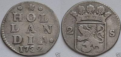Holanda, 2 Stuiver, siglo XVIII. 06cf_110