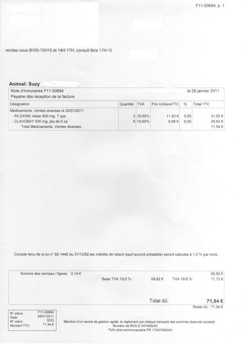 [CLOTURE et REGLE]Urgent/ Appel aux dons pour les soins opératoires de SUZY (27)  Factur10