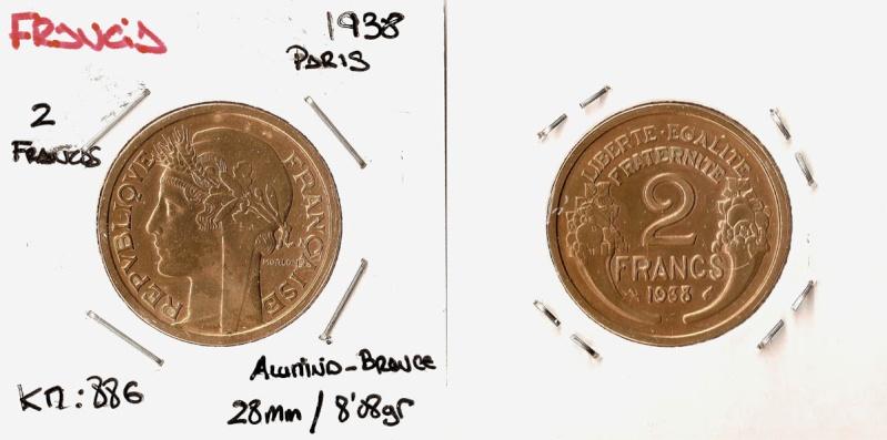 Francia, 2 francos, 1938 (tipo Morlon). Franci10