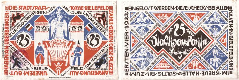 Notgeld ciudad de Bielefeld (billetes de seda/lino) Notgel10