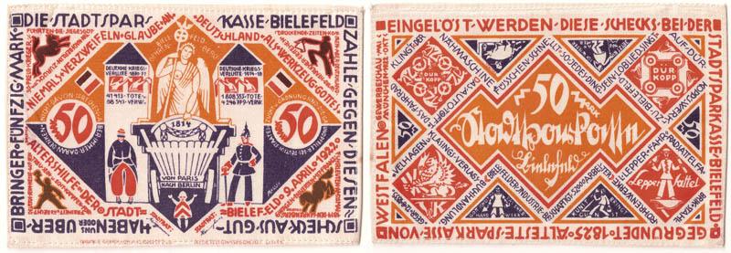 Notgeld ciudad de Bielefeld (billetes de seda/lino) Notgel11