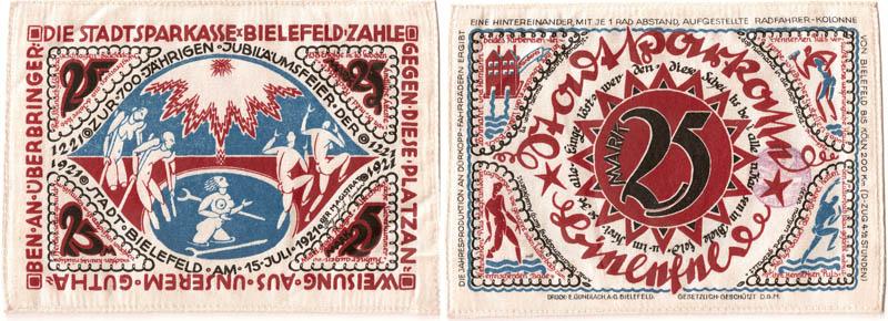 Notgeld ciudad de Bielefeld (billetes de seda/lino) Notgel12