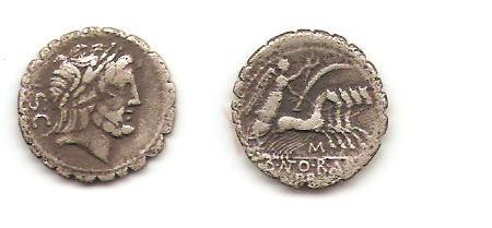Denario serrati de la gens Antonia. Denari11