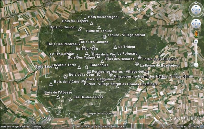 """Vestiges de la """"guerre des mines"""" (Première Guerre Mondiale) visibles dans Google Earth - Page 3 Suippe12"""