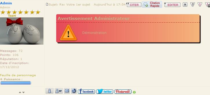 Bouton Avertissement Rapide pour Modo et Admin Demo-a11