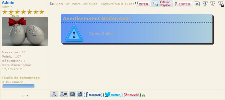 Bouton Avertissement Rapide pour Modo et Admin Demo-m11