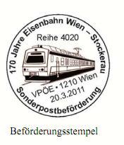 Sonderpostbeförderung von Wien nach Stockerau B110