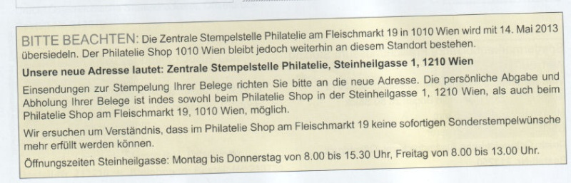 Zentrale Stempelstelle Philatelie am Fleischmarkt übersiedelt !!! Bild6210