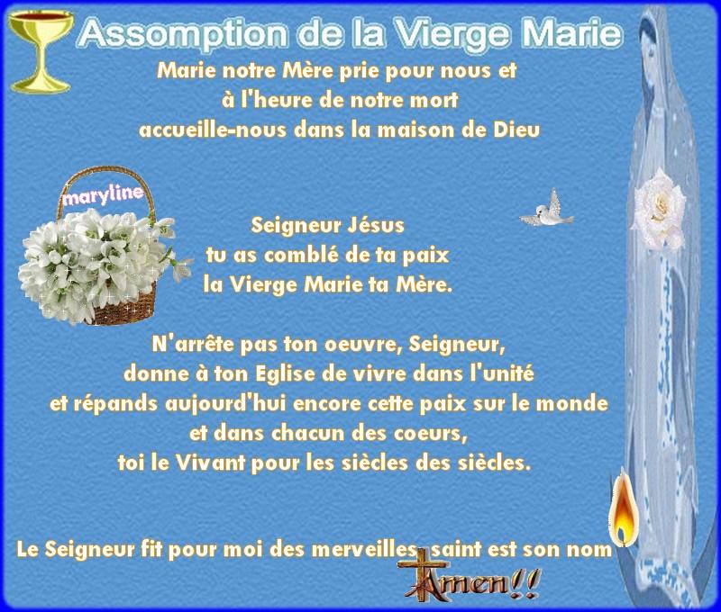 15 Août L'assomption de la très sainte vierge marie « Heureuse celle qui a cru ! » (Lc 1, 39-56) Asso10