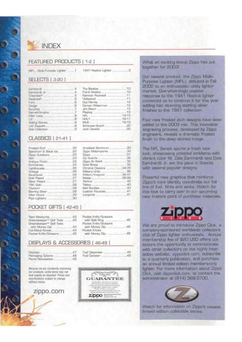 Catalogue ZIPPO 2003 Complete line (version américaine) 012