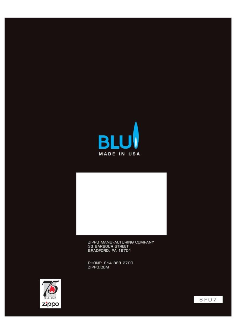 2007 ZippoBLU Butane Gas Lighter Catalog 1015