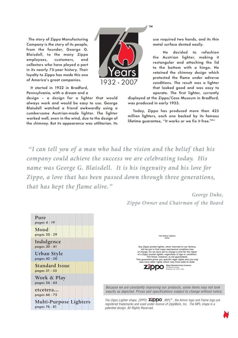 Catalogue ZIPPO 2007 Complete line (version américaine) 120