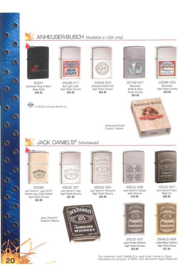 Catalogue ZIPPO 2003 Complete line (version américaine) 2015