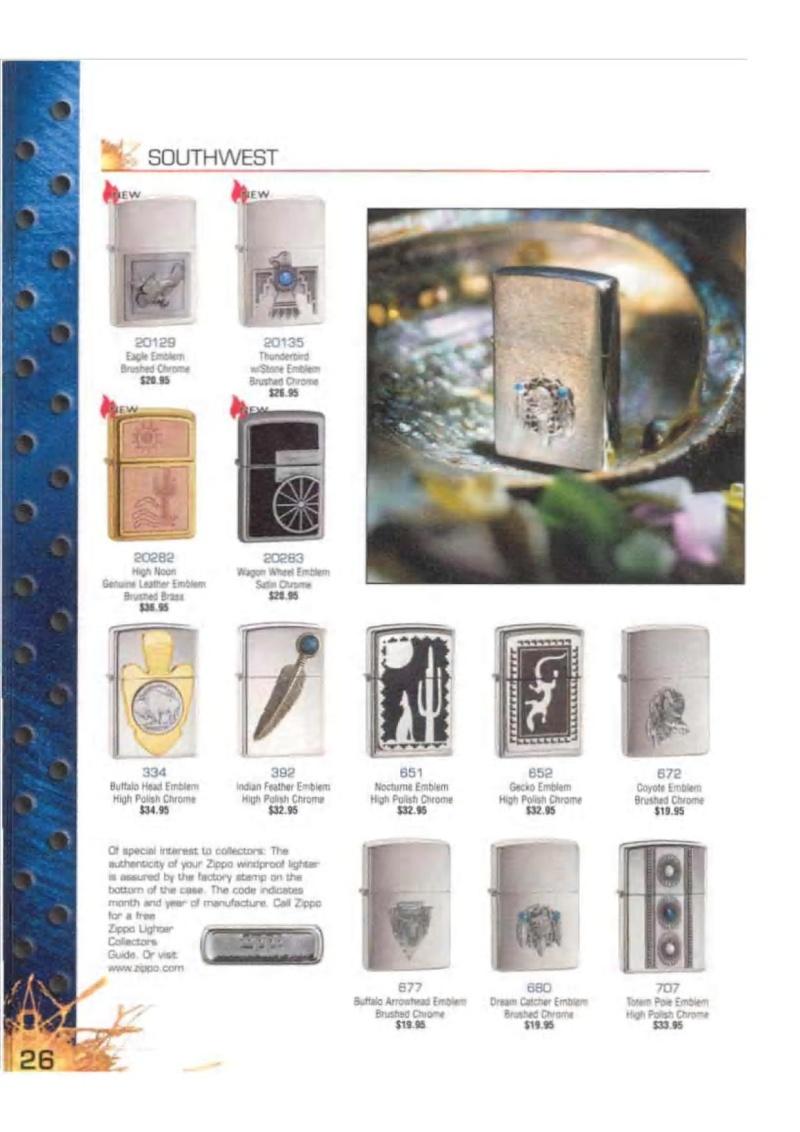 Catalogue ZIPPO 2003 Complete line (version américaine) 2614