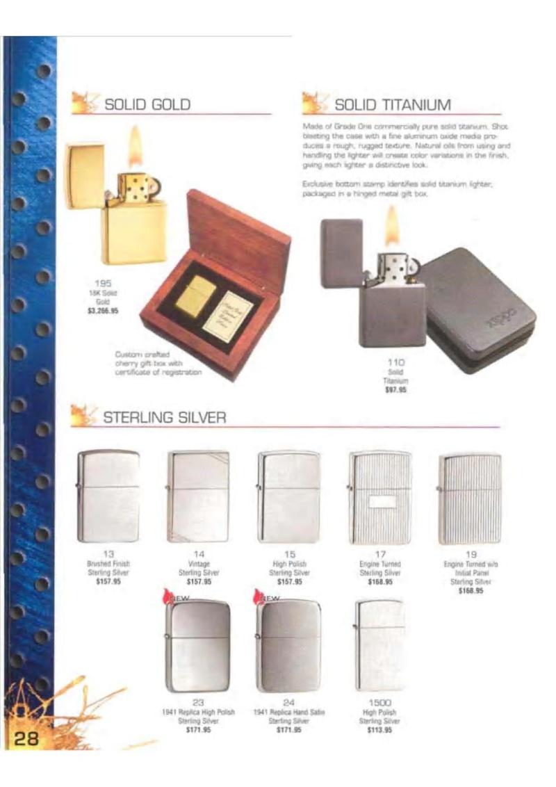 Catalogue ZIPPO 2003 Complete line (version américaine) 2815