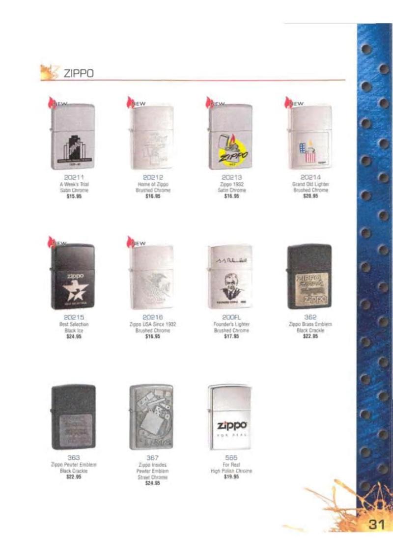 Catalogue ZIPPO 2003 Complete line (version américaine) 3114