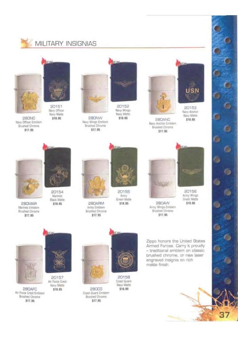 Catalogue ZIPPO 2003 Complete line (version américaine) 3713